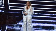 US singer Beyonce accepts an award on stage during the 2016 MTV Video Music Award at the Madison Square Garden in New York on August 28, 2016. (JEWEL SAMAD/AFP/Getty Images)