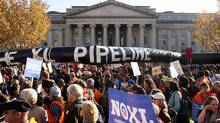 Demonstrators call for the cancellation of the Keystone XL pipeline during a November rally in Washington. President Barack Obama has since put the project on ice for further environmental study. (Joshua Roberts/Reuters/Joshua Roberts/Reuters)