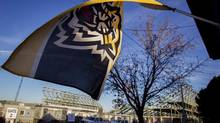 A Hamilton Tiger-Cats flag flies from a porch on Balsam Avenue (Aaron Lynett/The Canadian Press)
