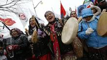 First Nations protesters march towards Parliament Hill during a demonstration as part of the 'Idle No More' movement in Ottawa December 21, 2012. (CHRIS WATTIE/REUTERS)