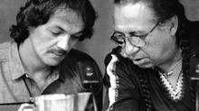 Donald Marshall, left, listens to Noel Knockwood, who provided translation from Mi'kmaq to English at the Marshall Inquiry in Halifax in 1988. (DOUG IVES/THE CANADIAN PRESS)