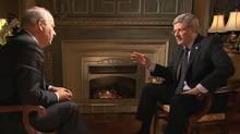 Peter Mansbridge interviews Prime Minister Stephen Harper on Jan.17, 2011. (CBC News: The National)