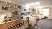 To avoid the typically dark middle of the interior most apartment and town homes suffer from a light well lets illumination spill from the roof into the heart of the house and down to the ground floor, where it brightens the kitchen area. (Great Gulf Homes)