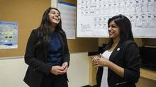 Glenforest Secondary School Grade 12 students Twinkle Mehta, left, and Jane Jomy are co-presidents of their school's STEM club. (Christopher Katsarov/The Globe and Mail)