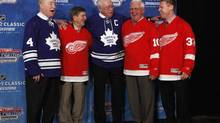 National Hockey League alumni, from left, Red Kelly, Ted Lindsay, George Armstrong, Alex Delvecchio, and Kris Draper (Paul Sancya/The Associated Press)