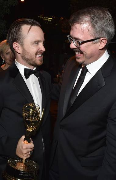 Aaron Paul, left, and Vince Gilligan seen at the AMC/IFC Emmy After Party on Monday, Aug. 24, 2014, in West Hollywood, Calif. (Todd Williamson/Invision for AMC)