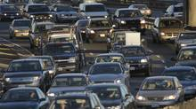 Heavy traffic on Toronto's westbound Gardiner Expressway as it heads towards Jameson Ave. (Fred Lum/The Globe and Mail)