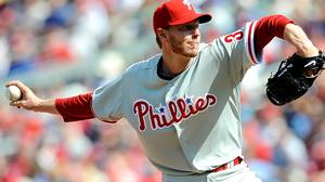 Roy Halladay #34 of the Philadelphia Phillies pitches against the Washington Nationals on Opening Day at Nationals Park on April 5, 2010 in Washington, DC. (Photo by Greg Fiume/Getty Images)