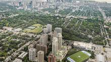 The Heathview apartment towers, outlined here in white, are located in Toronto's Forest Hill neighbourhood. The sustainable-design towers rise above St. Clair Avenue West thoroughfare and St. Michael's College School. Here's the view looking south toward downtown. (Morguard Corp.)