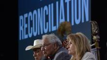 Chairman Justice Murray Sinclair (centre) and fellow commissioners Marie Wilson (right) and Wilton Littlechild discuss the Truth and Reconciliation Commission report in Ottawa on June 2, 2015. (Adrian Wyld/THE CANADIAN PRESS)