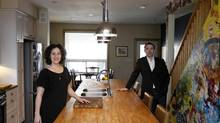 Darcy Tobin and Donal Ward at their house renovated by architect Christine Lolley. (Fernando Morales/The Globe and Mail)