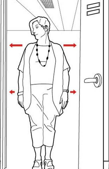 Stand in a door frame. Check your posture: Is your body square to the frame? Are your shoulders and head back, your hips and shoulders level? (Carrie Cockburn/The Globe and Mail)