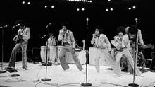 The Jackson Five perform during a show at the Mill Run Playhouse in a June of 1974 file photo. (STR/REUTERS)