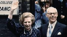 This is a June 9, 1983. file photo of British Prime Minister Margaret Thatcher leaving the Castle Lane, Westminster, polling station in London with her husband, Dennis, after casting their votes in the general election . Former British prime minister Margaret Thatcher, whose conservative ideas made an enduring impact on Britain, has died Monday, April 8, 2013. She was 87. (Peter Kemp/AP)