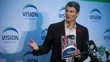 Vancouver Mayor Gregor Robertson reveals the Vision Vancouver platform for the civic election during a news conference in Vancouver, B.C., on Wednesday October 29, 2014. (DARRYL DYCK For The Globe and Mail)