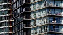 A condo complex in Vancouver. Canada's banking regulator is turning its eyes to possible speculation in the red hot condominium markets in Toronto and Vancouver. (Darryl Dyck/The Canadian Press/Darryl Dyck/The Canadian Press)