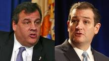 New Jersey Governor Chris Christie, left, and Senator Ted Cruz.
