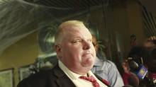 Mayor Rob Ford stepped out of his office briefly to speak to the media in Toronto on Oct. 31, 2013. (Peter Power/Globe and Mail)