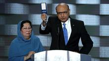 Khizr Khan, father of deceased Muslim U.S. Soldier Humayun S. M. Khan, holds up a booklet of the U.S. Constitution as he delivers remarks on the fourth day of the Democratic National Convention at the Wells Fargo Center in Philadelphia, on July 28, 2016. (Alex Wong/Getty Images)