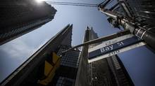 A Bay street sign is seen in Toronto's financial district. (Mark Blinch For The Globe and Mail)