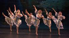 Dancers from the Edmonton-based troupe Shumka perform on stage. (Handout)