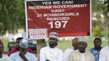 People attend an event held by the Bring Back Our Girls campaign in Abuja, Nigeria, on Oct. 14, 2016. (Sunday Alamba/AP)
