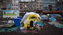 Tents are seen at a homeless camp on a city-owned lot in the Downtown Eastside of Vancouver on Nov. 17, 2016. (DARRYL DYCK/THE CANADIAN PRESS)