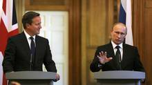 Russian President Vladimir Putin speaks during a news conference at 10 Downing Street in London on June 16, 2013. (Anthony Devlin/Reuters)