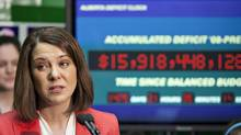 Wildrose Leader Danielle Smith speaks about the Alberta government debt during a press conference in Edmonton Monday April 16, 2012. (JASON FRANSON/THE CANADIAN PRESS)