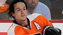 Danny Briere #48 of the Philadelphia Flyers warms up before playing against the Los Angeles Kings on October 15, 2011 at Wells Fargo Center in Philadelphia, Pennsylvania. (Photo by Jim McIsaac/Getty Images) (Jim McIsaac/Getty Images)