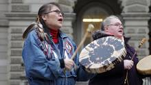 Marcia Brown Martel, left, is seen outside court in Toronto on Dec. 1, 2016. (Colin N. Perkel/THE CANADIAN PRESS)