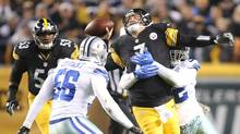 Pittsburgh Steelers QB Ben Roethlisberger is hit by Dallas Cowboys defensive tackle Cedric Thornton on Nov. 13, 2016. (Charles LeClaire/USA Today Sports)