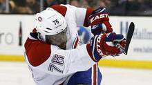 Montreal Canadiens' P.K. Subban follows through on his game-winning goal in the second overtime period against the Boston Bruins in Game 1 of an NHL hockey second-round playoff series in Boston, Thursday, May 1, 2014. (Associated Press)