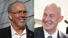 NDP leadership candidates John Horgan, left, and Mike Farnworth are the only two hopefuls looking to succeed Adrian Dix. (Rafal Gerszak and Chad Hipolito for the Globe and Mail)