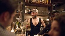 Union 613 co-owner Ivan Gedz and his male staff wore revealing clothing to highlight the problems with sexist dress codes. (Justin Tang/THE CANADIAN PRESS)