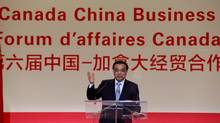 Chinese Premier Li Keqiang speaks to Montreal businessmen at China-Canada Economic and Trade Co-operation Forum in Montreal on Sept. 23, 2016. (Christinne Muschi/Reuters)