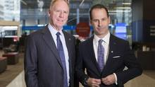 BMO outgoing CEO Bill Downe (left) stands with incoming CEO Darryl White in Toronto on Friday April 7, 2017. Photo: Chris Young/The Globe and Mail. (Chris Young/Chris Young for The Globe and Mail)