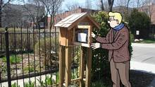 Wonderdick, on tour with The Architourist, searches through Parkdale's Little Free Library. (Photo illustration by Mike Winters For The Globe and Mail)