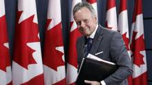 Stephen Poloz, Governor of the Bank of Canada, leaves a news conference after the release of the bank's Monetary Policy Report, in Ottawa, Wednesday, April 12, 2017. (FRED CHARTRAND/THE CANADIAN PRESS)