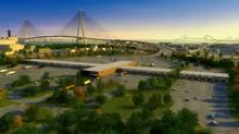 An artist's rendering of the proposed Windsor-Michigan bridge.