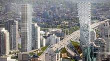 Design by Danish architect Bjarke Ingels for the 49-storey residential tower complex called Beach and Howe, to be built among the ramps and traffic decks of the Granville Street Bridge in Vancouver. (Westbank Projects Corp./Westbank Projects Corp.)