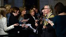 Minister of Indigenous and Northern Affairs Carolyn Bennett speaks to reporters following a cabinet meeting, Feb. 16, 2016. (Sean Kilpatrick/THE CANADIAN PRESS)