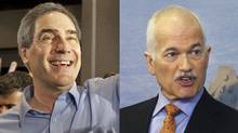 A combination photograph showing Liberal Leader Michael Ignatieff and NDP Leader Jack Layton. (The Canadian Press)
