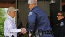 Attorney General Jeff Sessions, left, shakes hands with U.S. Customs and Border Protection officers as he tours the U.S.-Mexico border on April 11, 2017, in Nogales, Ariz. (Ross D. Franklin/AP)