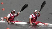 Canada's Ryan Cochrane (R) and Hugues Fournel competes in the men's kayak double (K2) 1000m semifinal at the Eton Dorney during the London 2012 Olympic Games August 6, 2012. (DARREN WHITESIDE/REUTERS)
