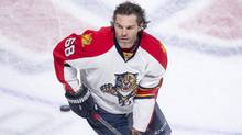 Florida Panthers right winger Jaromir Jagr recorded his 1,111th career assist on March 15, 2016 in Montreal. (Paul Chiasson/THE CANADIAN PRESS)