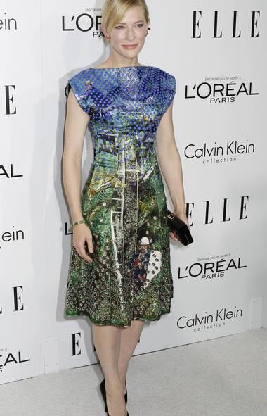 Cate Blanchett, attending the Elle Women in Hollywood dinner in Beverly Hills on Monday, wears a dress that features: blue lozenges; metallic holes; a ladder; and, inevitably at this point, a long-haired dude in a hardhat wielding a butterfly net. (Reuters)