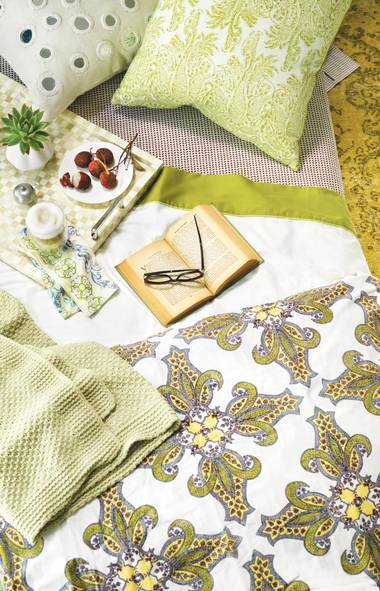BOHEMIAN RHAPSODY: The influence of hippie-chic icon Talitha Getty isn't just limited to fashion, as the abundance of linens sporting oversized organic-looking prints, faded earth tones and intricate patterns indicates. If waking up in Marrakech (or L.A.'s Chateau Marmont) isn't on the horizon, this is the next best thing. Ivory decorative pillow, $245 through www.johnrobshaw.com. Lichen decorative pillow, $120 through www.johnrobshaw.com. Cinde coffee fitted sheet, $180 through www.johnrobshaw.com. Esprit Poem queen flat sheet,$159 for a four-piece set at TheBay (www.thebay.com). Wood and gold eyeglass frames, $945 at Josephson Opticians (www.josephson.ca). Nicobar queen duvet cover,$440 at The Bay. Chenille seed-stitch throw, $77 at Pottery Barn (www.potterybarn.ca). Nifty napkin, $32 for a set of six at Anthropologie (www.anthropologie.com). Bodum Pavina 12-ounce double-wall glass, $25 for a set of two through www.amazon.ca. Bone tray, $90 at HomeSense (www.homesense.ca). Salt cellar, $75 at Cynthia Findlay Antiques (www.cynthiafindlay.com). Succulent, $25 at Midge Flower Boutique (www.midge.ca). (Steve Krug for The Globe and Mail)