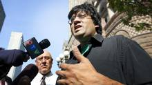 Activist Jaggi Singh, who was arrested during G20 protests, arrives at the Old City Hall court house in Toronto, Ontario on June 21, 2011. (Kevin Van Paassen/THE GLOBE AND MAIL)