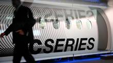 A mock-up of the new C-series passenger jet from Bombardier aerospace was on display for the media at their facility in Montreal. (John Morstad for The Globe and Mail)